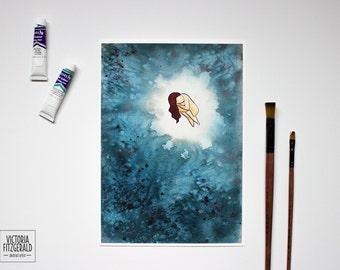 "Ocean Watercolour Art -  ""Black Pearl"" - Indigo Blue Print - Water Effect"