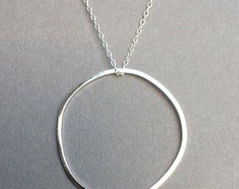 Large Circle Necklace / Sterling silver pendant / Silver eternity ring necklace / Modern halo necklace / Statement