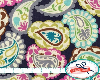 AQUA & GRAY PAISLEY Fabric by the Yard, Fat Quarter Roco Beat Gray and Pink Fabric Quilting Fabric 100% Cotton Fabric Apparel Fabric a4-27