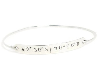 Sterling Silver LATITUDE & LONGITUDE Bangle Bracelet, Personalized Silver Bracelet, Sterling Bracelet, Coordinate Bracelet, Silver Bangle