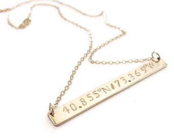 Personalized Coordinate Necklace, Gold Bar Necklace, Custom Coordinates Necklace, Coordinate Bar Necklace, Coordinate Jewelry, Wedding Gift