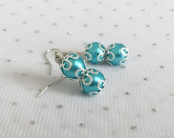 Malibu Blue Wedding Bridesmaid Jewelry Earrings, Aqua Blue Earrings, Turquoise Blue Wedding Jewelry, Bridesmaid Gift, Blue Beaded Jewelry