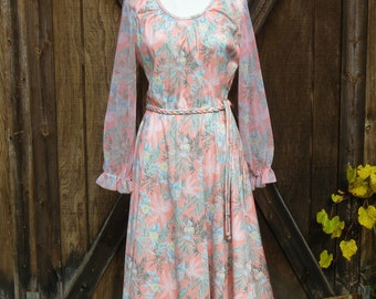 Vintage 70s Peach Floral Print Dress, Small/Medium