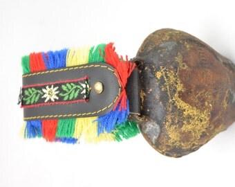 Vintage Souvenir Swiss Bell with Floral Fringe Strap