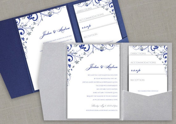 Pocket Wedding Invitation Printable Set Instant By KarmaKWeddings