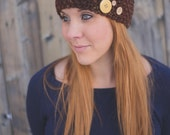 Seed Stitch Headband w/ Buttons - Brown