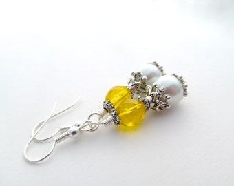 Yellow Bridesmaid Earrings, pearl drop earrings, yellow wedding, yellow dangle earrings, yellow wedding jewelry