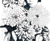 Art Limited edition of prints -The flowers of Yayoi- black pen on italian paper -Print 1/10