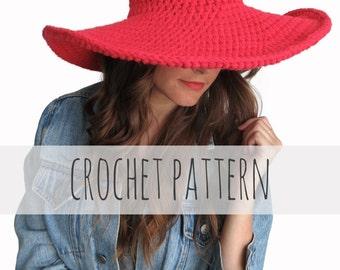 PATTERN for Crochet Floppy Hat Sun Wide Brim Derby Summer Beach Hat // Lola Sun Hat PATTERN