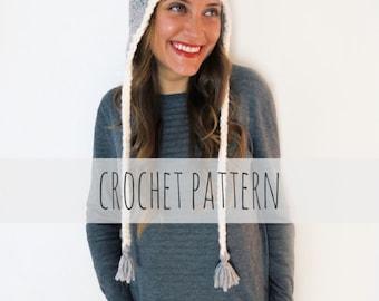 PATTERN for Chunky Soft Crochet Earflap Hat Beanie Pompom Cap // Burlington Hat PATTERN