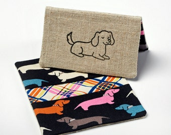 Dog Wallet, Fabric Card Holder, Business Card Case - Retro Dachshund