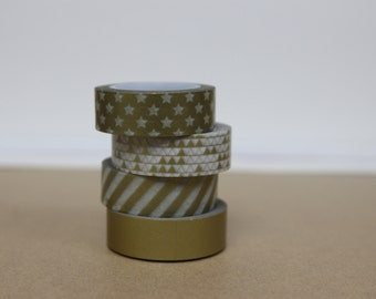 Washi Tape Set of 4  - The Metallic Gold set - M04/M14/M08/M06