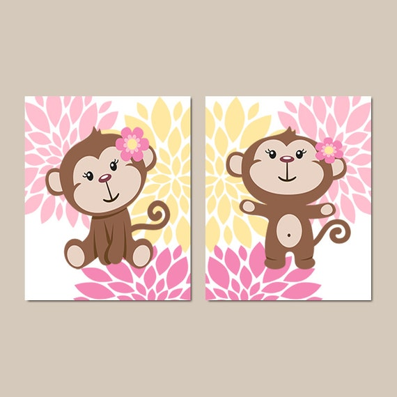 Girl Monkey Wall Art Prints Or Canvas Baby Girl Nursery