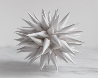 Tree Topper Polish Star Bright White Modern  | Jezyk Paper Star Folk Art Spiky Christmas Tree Star, 8.5 inch