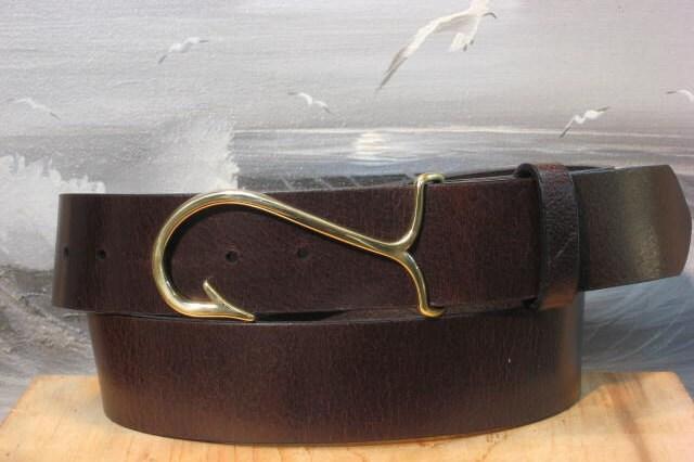 nautical fish hook plain leather belt by cellarleatherbelts