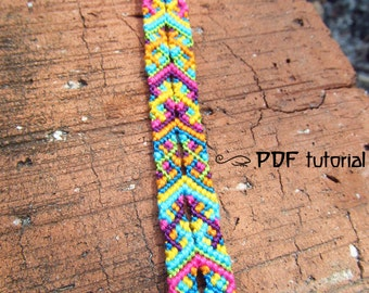 Friendship Bracelet Pattern, Friendship Bracelet Tutorial 'Joyful Colors', Bracelet Tutorial, Friendship Bracelet Pattern pdf, Bracelet pdf