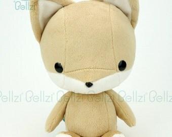 "Bellzi® Cute ""Brown"" w/ White Contrast Fox Stuffed Animal Plush - Foxxi"