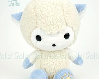 "Bellzi® Cute White w/ ""Blue"" Contrast Sheep Stuffed Animal Plush - Bell"