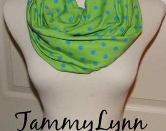 Apple Green with Aqua Blue Polka Dots Cotton Spandex Knit Infinity Scarf Women's Accessories TammyLynns
