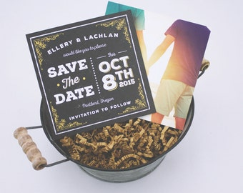 Chalkboard LGBTQ Save The Date Cards | Printed Square Cards | Optional Envelops |  Use Up To 50 Different Engagement Photos
