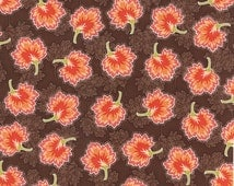 Autumn Fabric, Mums Fabric - Somerset Floral Small Flower Mums by Fig Tree & Co for Moda Fabric 20238 16 Chestnut - Priced by the Half yd