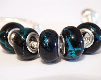 1x  Lampwork Glass Bead - Black With Blue Swirls -  Large Hole - Fit European Bracelets and Necklaces - A13