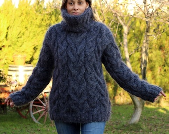 Hand Knit Mohair Sweater Cable Dark Gray Fuzzy Turtleneck Jumper Pullover Jersey MADE to ORDER - by Extravagantza