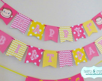 Curious George Happy Birthday Banner / Curious George Birthday Party - Pink Curious George / Girl Curious George FILE to PRINT DIY