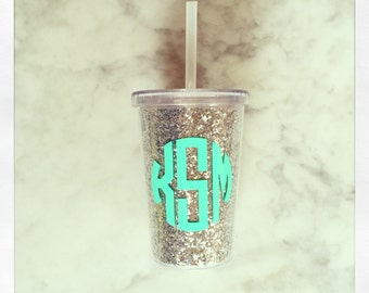 Personalized 10oz Double Wall Kids Tumbler {Silver Glitter}