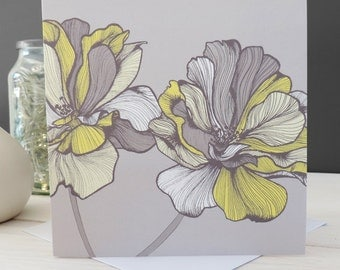 Bridget Floral Card, Greetings Card, Blank Card, Stationery, Paper Goods