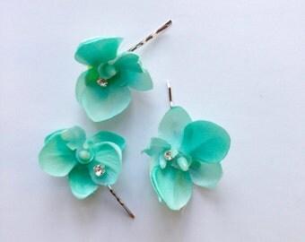 Blue orchid bridal hair clips, flower wedding hair pins, robin's egg blue, bobby pins, rhinestone hair accessory, bridesmaid hair clips