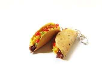 Beef Taco Charm, Miniature Food Jewelry, Polymer Clay Taco, Crunchy Taco Jewelry, Taco Pendant