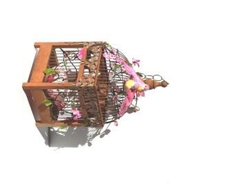 Vintage Birdcage, Garden Birdcage, Lovebirds, Floral Birdcage  Garden Decor, Interior Design, Gift Idea  - by FairyLace Designs
