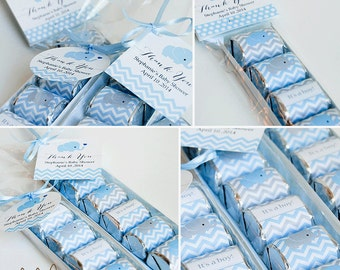 EDITABLE TEXT Hershey Nugget Favor Set / Baby Shower / Nugget Candy Wrapper / Tag / Avery Label / Printable Instant Download - Blue Elephant