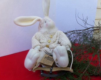 Vintage Bunny On Sled Winter Decor