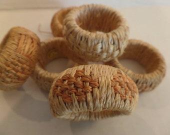 Vintage Woven Napkin Rings Set of 6