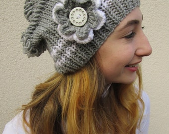 Slouchy Hat, Womens Hat, Hand Knit, Slouch Beanie, White and Silver Gray, Deductible Crochet Flower With Button