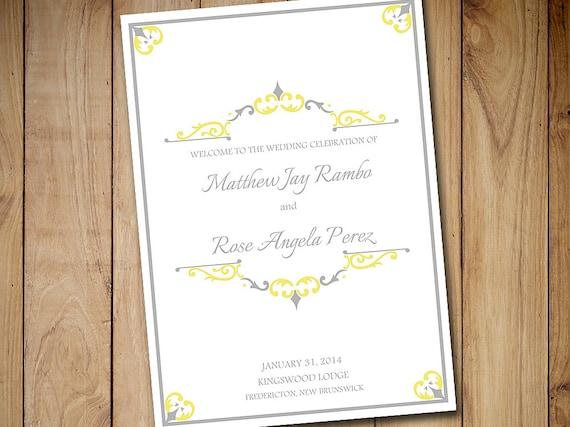 Fold Over Wedding Program Template Vintage Wedding Program