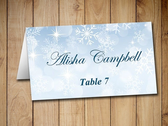 Winter Wedding Place Cards Template Tent By PaintTheDayDesigns