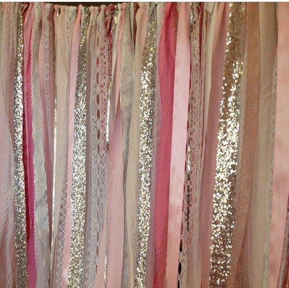 Pink Silver Sparkle Sequin Fabric Backdrop Lace Ribbon