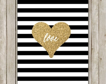 8x10 Love Printable Art, Typography Wall Art, Typography Print, Glitter Gold Art, Stripe Poster, Wall Art Decor, Instant Download