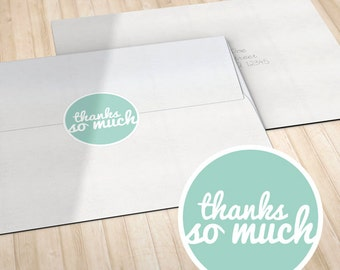 Personalized Circle Stickers or Envelope Seals // Teal, Coral, Green, Orange or Red // Thank You
