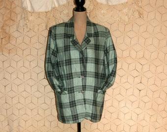 80s Oversized Blazer Jacket Womens Large Gray Green Plaid 1980s Flannel Jacket Plaid Blazer Plaid Jacket Vintage Clothing Womens Clothing