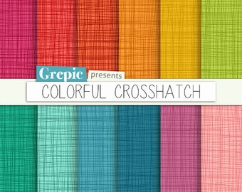 "SALE 50% Crosshatch digital paper: ""COLORFUL CROSSHATCH"" with cross hatch / bright linen / canvas backgrounds and textures in rain"