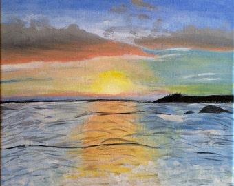 Carmel Beach Sunset Acrylic Painting