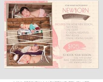 Mini Photography Sessions Template  - Petite Newborn Sessions - Portraits - 5x7 - Flyer - Digital - Infants - babies - Seniors - Familiy