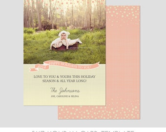 5x7 Christmas Card Template  - Front and Back - Modern Photography Template - Holiday - Fun - Families - Children - Bright - Christmas