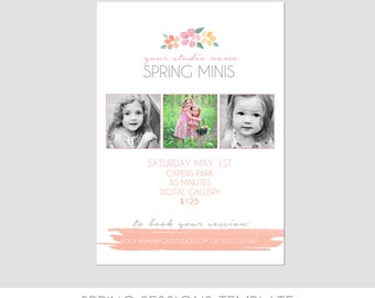 INSTANT DOWNLOAD, Spring Mini Session Photography Template, Marketing Template, Birds Nest, Watercolor, Easy, Photography Marketing Template
