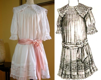 """Digital Antique Sewing Pattern~ Charming 1912 Edwardian Girl's """"Lingerie"""" Dress (5-8yrs)~PDF format to Print at Home (Pattern #1912-C-003)"""