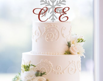 Snowflake Monogram Wedding Cake Topper, Custom Two Initials and Snowflake Topper Available in 15 Colors and 19 Glitter Options- (T103)